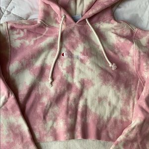 Cropped tie dye champion hoodie